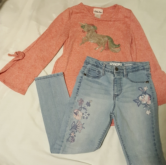 2pc set unicorn sweater top & Jeggings embroidered